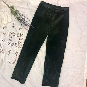 Vtg Lauren Ralph Lauren Green Leather pants
